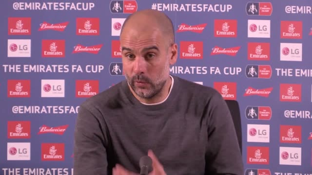 stockvideo's en b-roll-footage met pep guardiola questions why var was not used for manchester city's 3-2 fa cup quarter-final win at swansea. - var