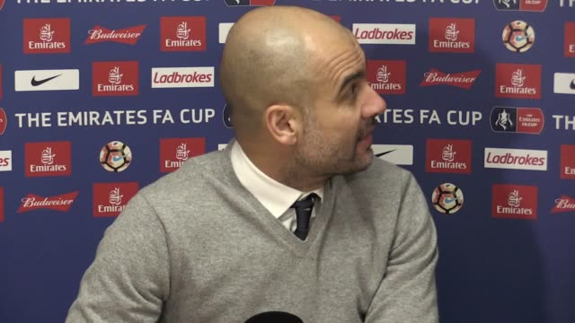 pep guardiola speaks following the 0-0 fa cup draw with huddersfield town. he defends his selection and says he doesn't like the way managers are... - huddersfield town football club stock videos & royalty-free footage