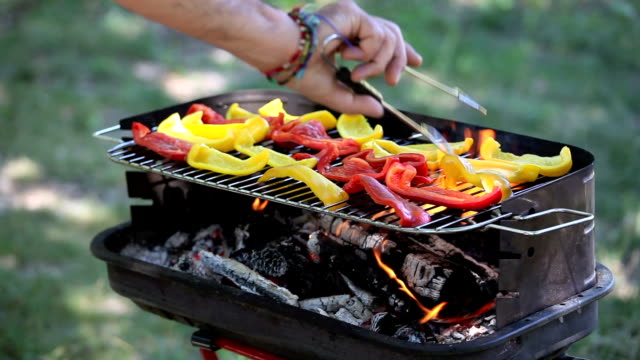 Peppers on a barbecue