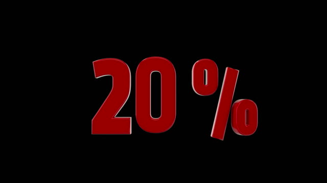 20% percent discount animation - 3d animation stock videos & royalty-free footage