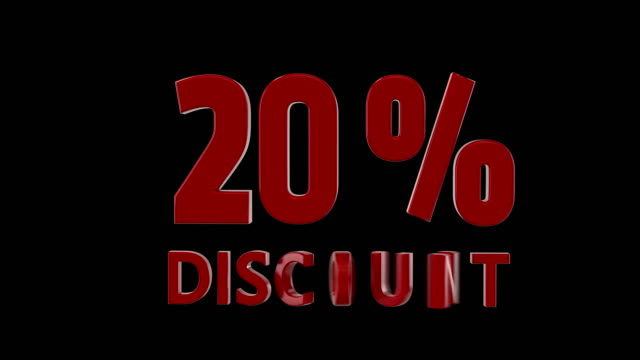 %20 percent discount icon animation, american style