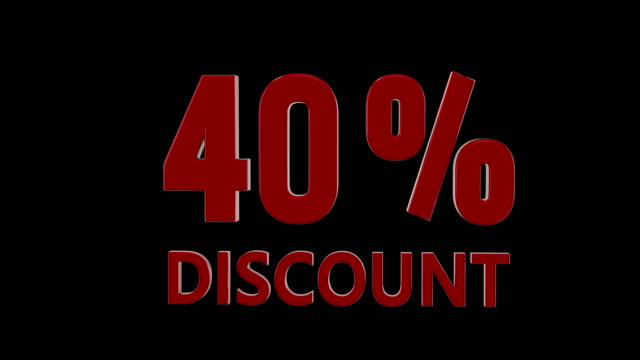 %40 percent discount icon animation, american style