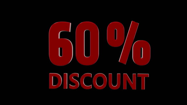 %60 percent discount icon animation, american style