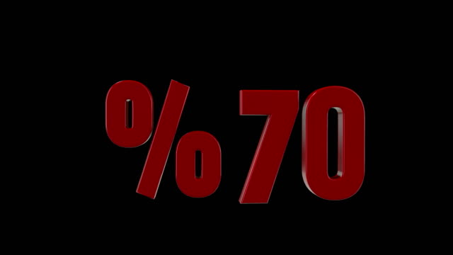 %70 percent discount icon animation - 3d animation stock videos & royalty-free footage