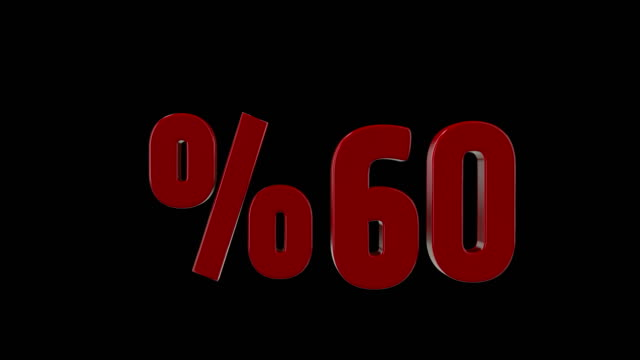 %60 percent discount icon animation