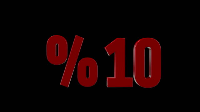 %10 percent discount icon animation - 3d animation stock videos & royalty-free footage
