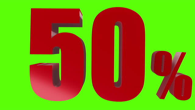vídeos de stock, filmes e b-roll de 50% para desconto ou promoção de renderização 3d para sua publicidade. - number 3