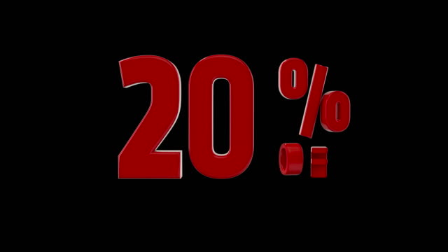 %20 percent off icon animation - 3d animation stock videos & royalty-free footage