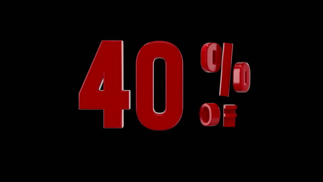 %40 percent off icon animation