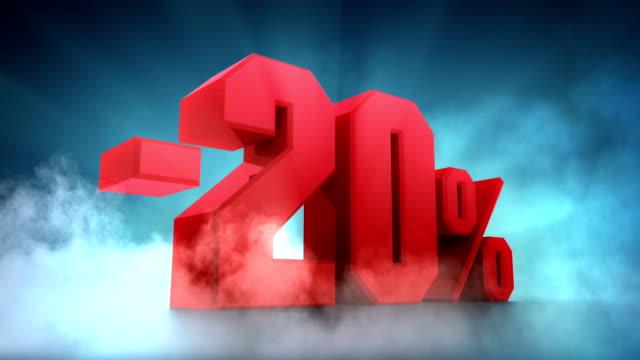 vídeos de stock, filmes e b-roll de porcentagem 3d.  - 10% a 20% - 30% -40% 50% - liquidação evento comercial