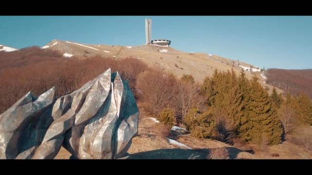 perched like a ufo, the buzludzha monument, near the town of kazanlak east of the bulgarian capital sofia, tuesday, april 2017, was built by the... - organised group photo stock videos & royalty-free footage