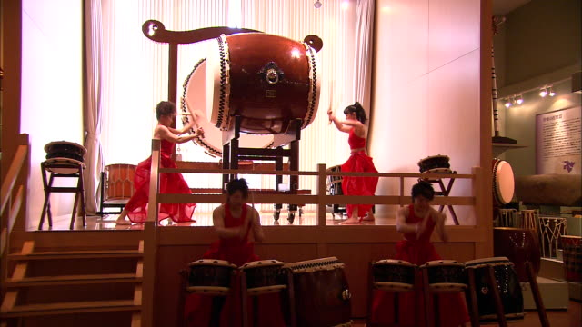 percussionists play taiko drums in japan. - drummer stock videos & royalty-free footage
