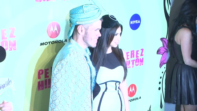 perez hilton and kim kardashian at perez hilton's mad hatter tea party birthday celebration on 3/24/2012 in los angeles ca - mad hatter stock videos and b-roll footage