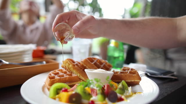 perfect dessert - waffles stock videos and b-roll footage