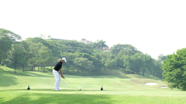 perfect golf shot off the tee box - golfer stock videos and b-roll footage