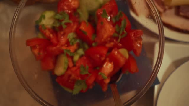 perfect healthy tomato and cucumber salad - tomato salad stock videos & royalty-free footage