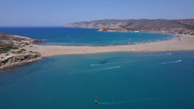 perfect kite and windsurfing destination - rhodes dodecanese islands stock videos & royalty-free footage
