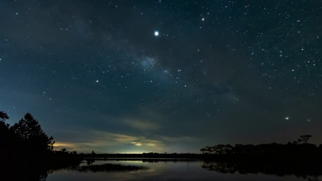 perfect milky way over the lagoon. - constellation stock videos & royalty-free footage