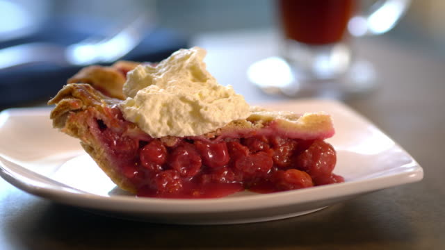 Perfect slice of cherry pie with lattice crust