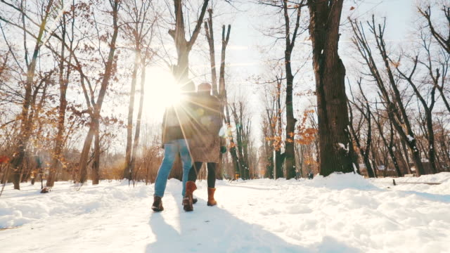 a perfect winter day just for us! - winter stock videos & royalty-free footage