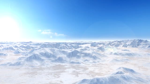 Perfectly Loop Camera flight over snow mountains