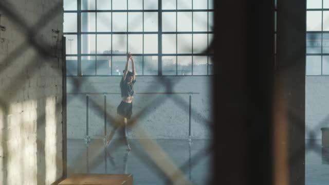 performance of ballerina seen through fence - ballet studio stock videos & royalty-free footage
