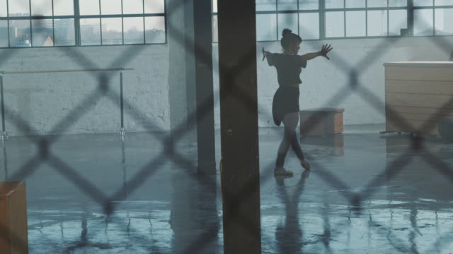 performance of ballet dancer seen through fence - femininity stock videos & royalty-free footage