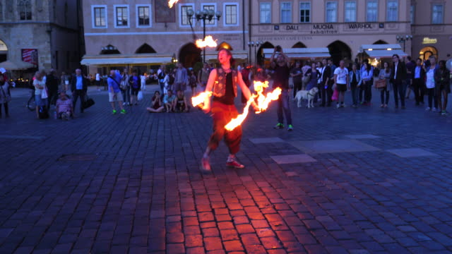 Performance with fire in Old Town Square in Prague