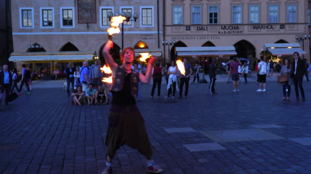 performance with fire in old town square in prague - prague old town square stock videos & royalty-free footage
