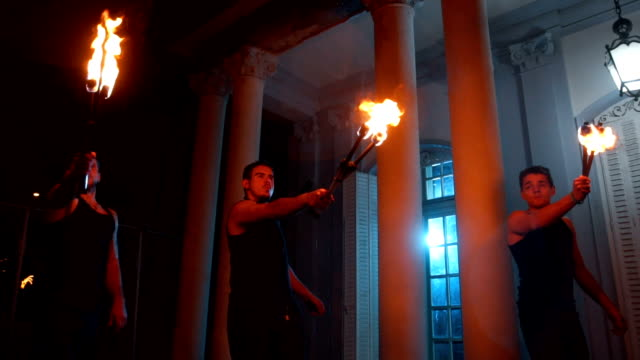 performers blazing the fire - fan enthusiast stock videos & royalty-free footage