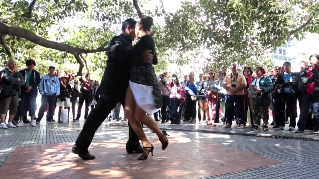 Performers dance tango for the crowd in Recoleta on March 16 2013 in Buenos Aires Argentina Scenes From Buenos Aires Argentina on March 16 2013 in...