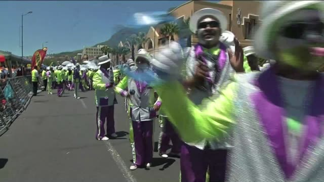 performers take part in the annual cape town minstrel carnival on january 17 2015 in cape town south africa south african minister of arts and... - multan stock videos and b-roll footage