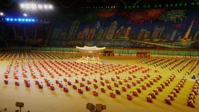 tl – performers with traditional instruments during mass games in pyongyang north korea dprk wide shot - spoonfilm stock videos and b-roll footage