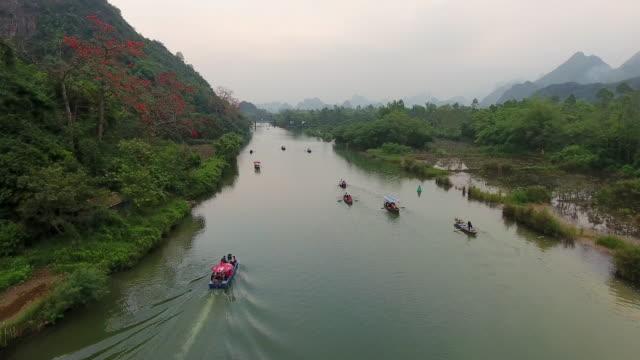perfume pagoda mountains, hanoi province, vietnam - vietnam stock-videos und b-roll-filmmaterial