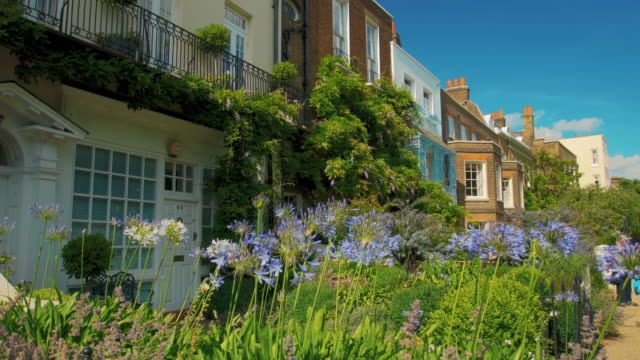 Period English houses in spring.