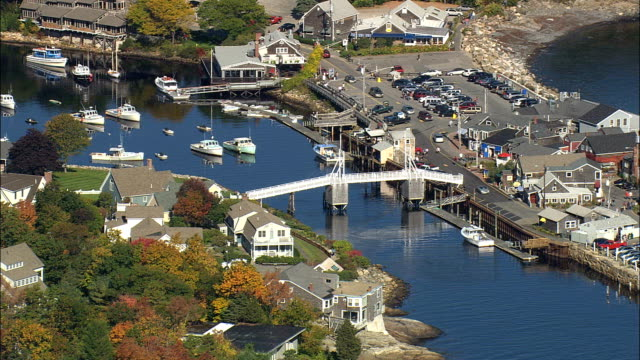 perkins cove  - aerial view - maine,  york county,  united states - musical instrument bridge stock videos & royalty-free footage