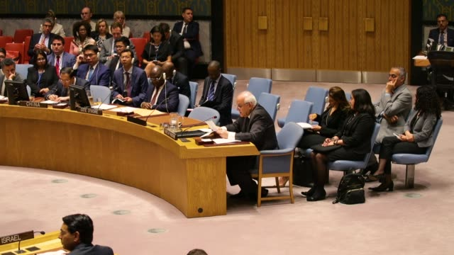 permanent observer ofpalestineto the united nations riyad mansour speaks during a un security council meeting concerning the violence at the border... - 国際連合点の映像素材/bロール