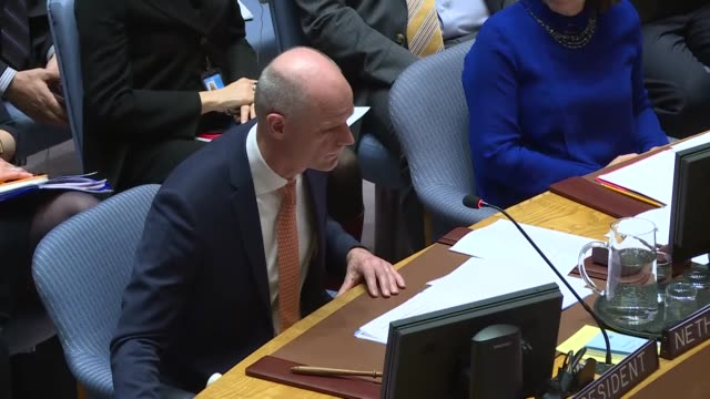 vídeos de stock, filmes e b-roll de permanent representative of the syrian arab republic to the united nations bashar jaafari, minister of foreign affairs of netherlands stef blok, us... - 2018