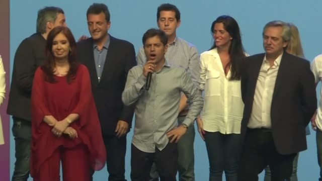 peronist alberto fernandez and his running mate cristina kirchner celebrate on stage after winning argentina's presidential election defeating... - mauricio macri stock videos and b-roll footage