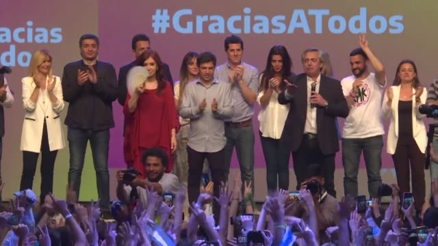 peronist candidate alberto fernandez won argentina's presidential election in the first round on sunday bringing to an end the crisis plagued rule of... - mauricio macri stock videos and b-roll footage