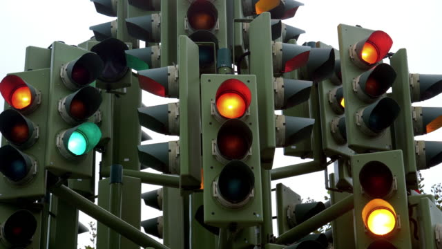 perplexing traffic lights - chaos stock videos & royalty-free footage