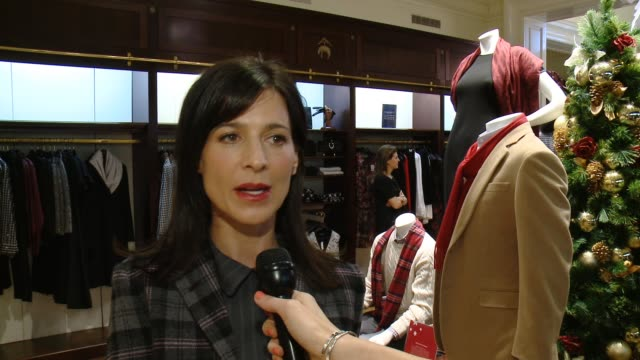 interview perrey reeves on st jude's the brooks brothers event and favorite holiday memory at brooks brothers celebrates the holidays with st jude... - st. jude children's research hospital stock videos and b-roll footage