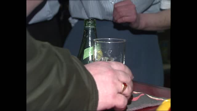 benzene contamination; england: london: int men at counter in pub / bottle of perrier poured into glass / dave peppall drinking glass of perrier - molecule stock videos & royalty-free footage