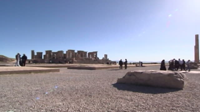 persepolis view of the ruins of the tachara or palace of darius in the ancient city of persepolis the city dates to 515 bce and is a unesco site - persepoli video stock e b–roll