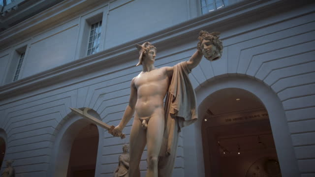 perseus with the head of medusa at the metropolitan museum of art - composition stock videos & royalty-free footage