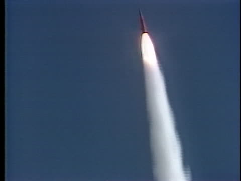 pershing missile launches into blue skies. - nuclear missile launch stock videos & royalty-free footage
