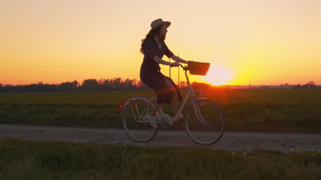 ws slo mo ts person cycling among fields at sunset - in silhouette stock videos & royalty-free footage