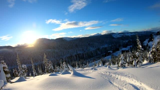 森林で深い雪の中を降順人のpov - 中年の男性だけ点の映像素材/bロール