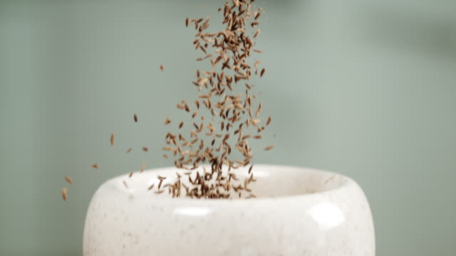 slo mo person dropping cumin seeds into a mortar - seed stock videos & royalty-free footage