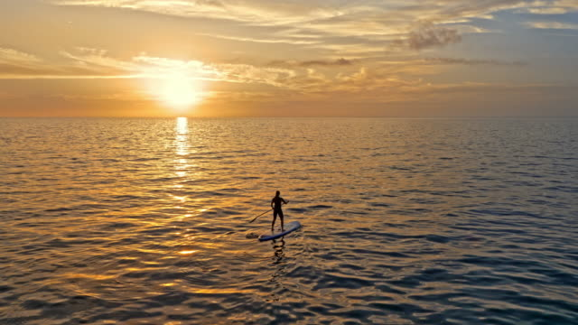 aerial person paddling at sea on his sup as the sun is setting - surfboard stock videos & royalty-free footage